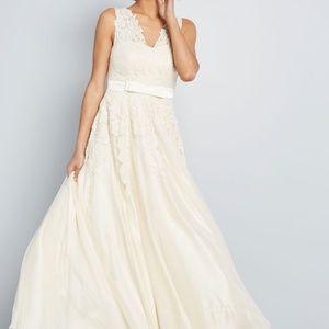 ModCloth Memorable Magic Maxi Wedding Dress Ivory